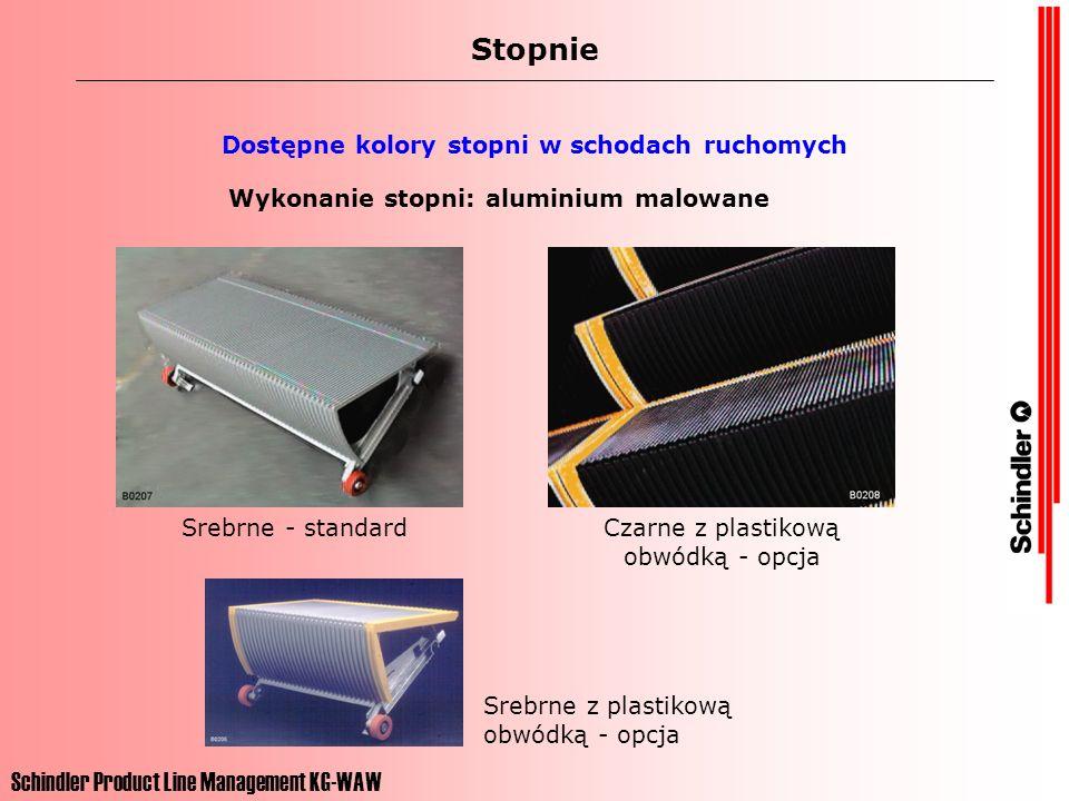 Schindler Product Line Management KG-WAW Stopnie Dostępne kolory stopni w schodach ruchomych Wykonanie stopni: aluminium malowane Srebrne - standardCz