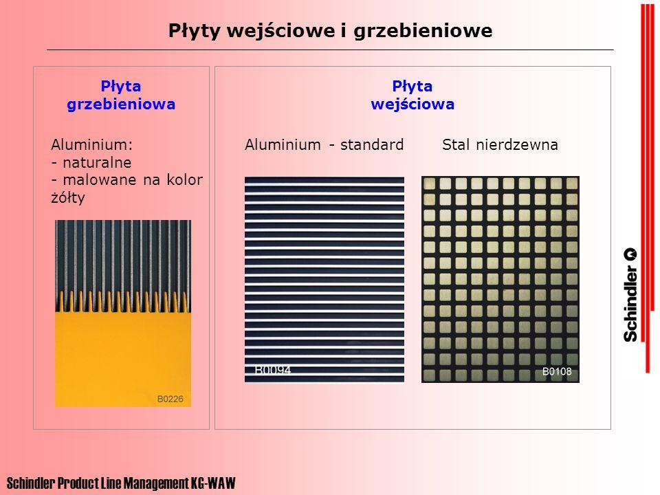 Schindler Product Line Management KG-WAW Płyty wejściowe i grzebieniowe Płyta wejściowa Aluminium: - naturalne - malowane na kolor żółty Aluminium - s