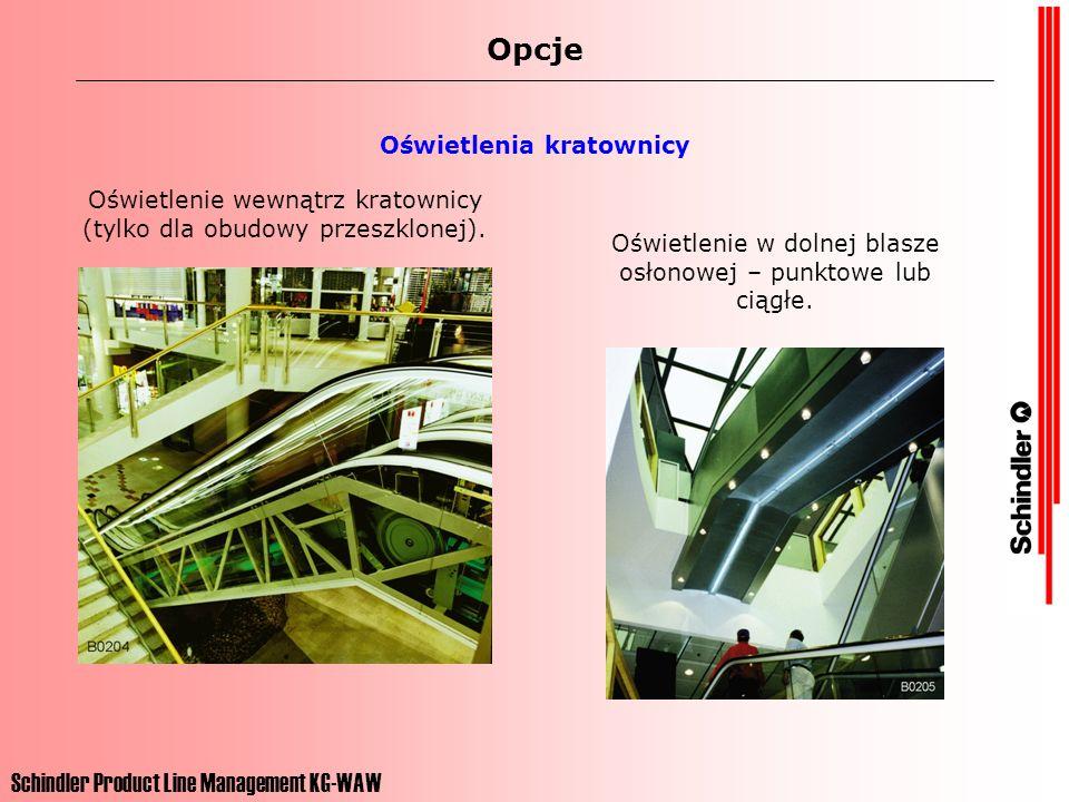 Schindler Product Line Management KG-WAW Opcje Oświetlenia kratownicy Oświetlenie wewnątrz kratownicy (tylko dla obudowy przeszklonej). Oświetlenie w
