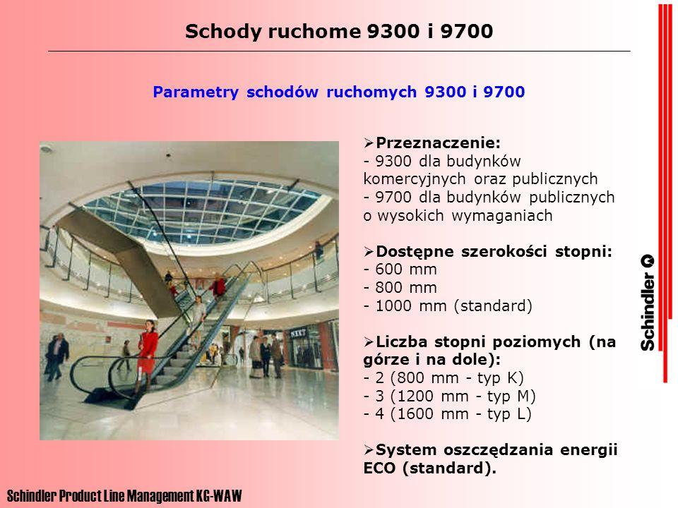 Schindler Product Line Management KG-WAW Schody ruchome 9300 i 9700 Parametry schodów ruchomych 9300 i 9700 Prędkości w sektorze komercyjnym: - 0,45 m/s - 0,5 m/s (standard) Prędkości w sektorze publicznym: - 0,45 m/s - 0,5 m/s - 0,6 m/s - 0,65 m/s Maksymalna wysokość podnoszenia: - 16 m (typ 9300) - 30 m (typ 9700) Kąty nachylenia: - 27,3 stopnie - 30 stopnie - 35 stopnie (standard do 6 m podnoszenia)