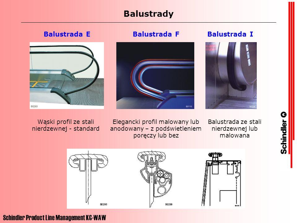 Schindler Product Line Management KG-WAW Balustrady Balustrada EBalustrada FBalustrada I Wąski profil ze stali nierdzewnej - standard Elegancki profil malowany lub anodowany – z podświetleniem poręczy lub bez Balustrada ze stali nierdzewnej lub malowana