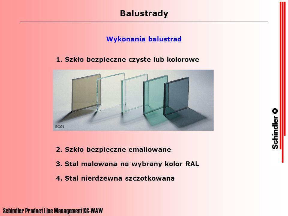 Schindler Product Line Management KG-WAW Balustrady Wykonania balustrad 1. Szkło bezpieczne czyste lub kolorowe 2. Szkło bezpieczne emaliowane 3. Stal