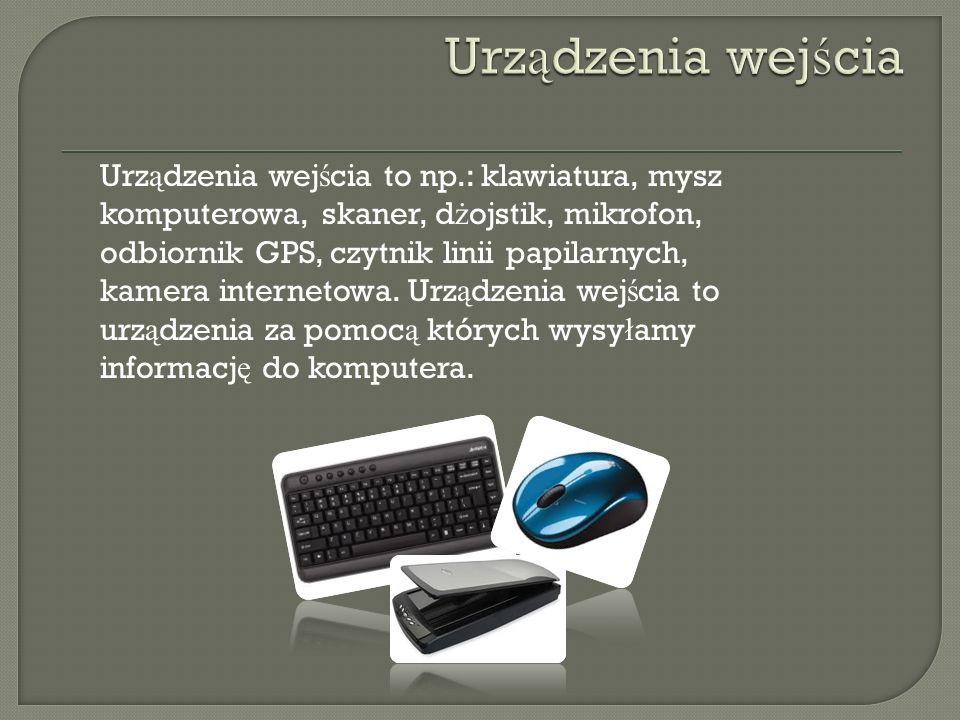 Urz ą dzenia wej ś cia to np.: klawiatura, mysz komputerowa, skaner, d ż ojstik, mikrofon, odbiornik GPS, czytnik linii papilarnych, kamera internetow