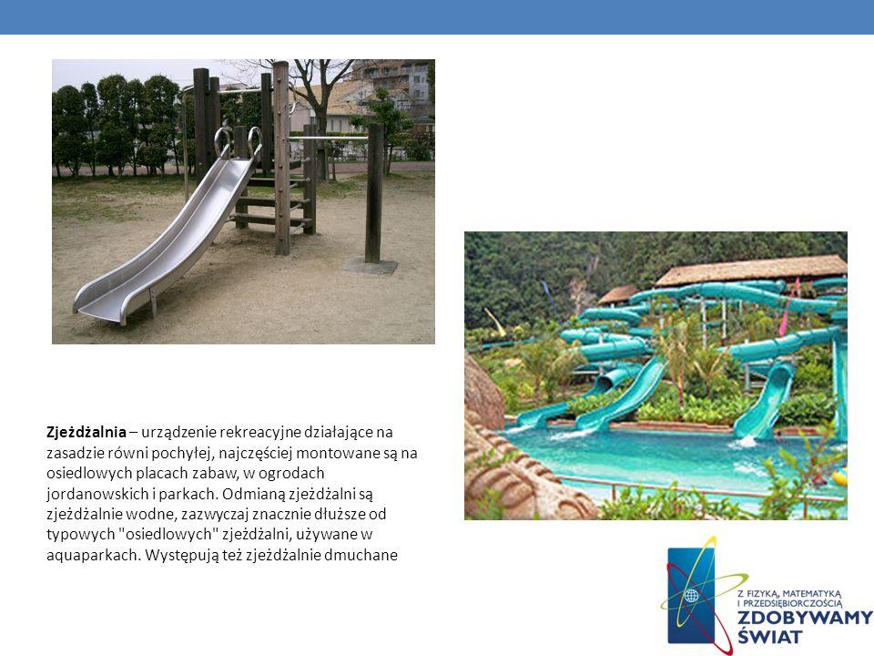 Zjeżdżalnia – urządzenie rekreacyjne działające na zasadzie równi pochyłej, najczęściej montowane są na osiedlowych placach zabaw, w ogrodach jordanowskich i parkach.