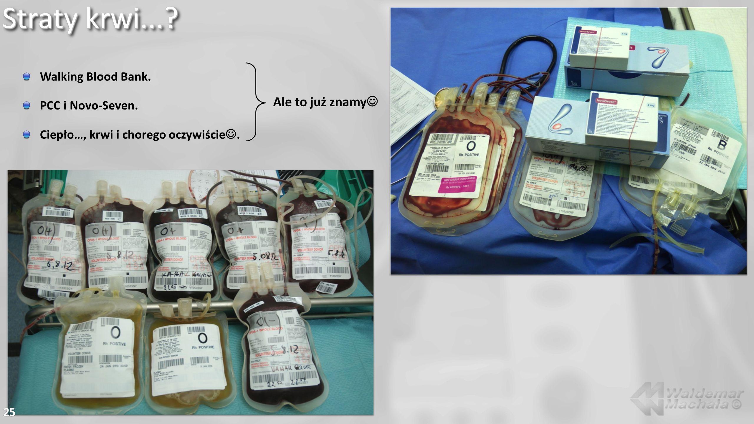 Straty krwi...? Walking Blood Bank. PCC i Novo-Seven. Ciepło…, krwi i chorego oczywiście. Ale to już znamy
