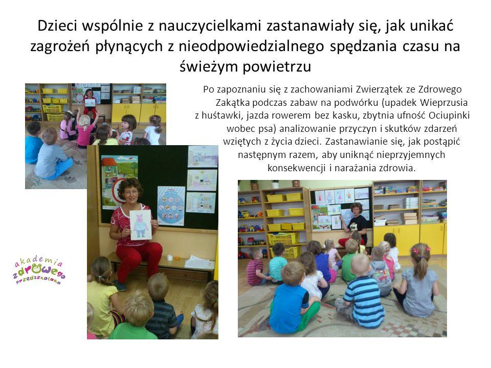 Dzieci wspólnie z nauczycielkami zastanawiały się, jak unikać zagrożeń płynących z nieodpowiedzialnego spędzania czasu na świeżym powietrzu Po zapozna