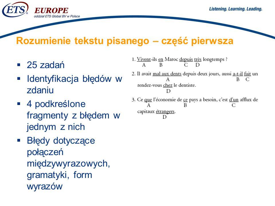 > Rozumienie tekstu pisanego – część pierwsza 25 zadań Identyfikacja błędów w zdaniu 4 podkreślone fragmenty z błędem w jednym z nich Błędy dotyczące połączeń międzywyrazowych, gramatyki, form wyrazów