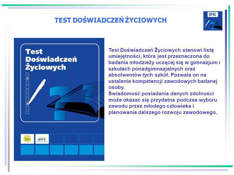 TEST DOŚWIADCZEŃ ŻYCIOWYCH Test Doświadczeń Życiowych stanowi listę umiejętności, która jest przeznaczona do badania młodzieży uczącej się w gimnazjum