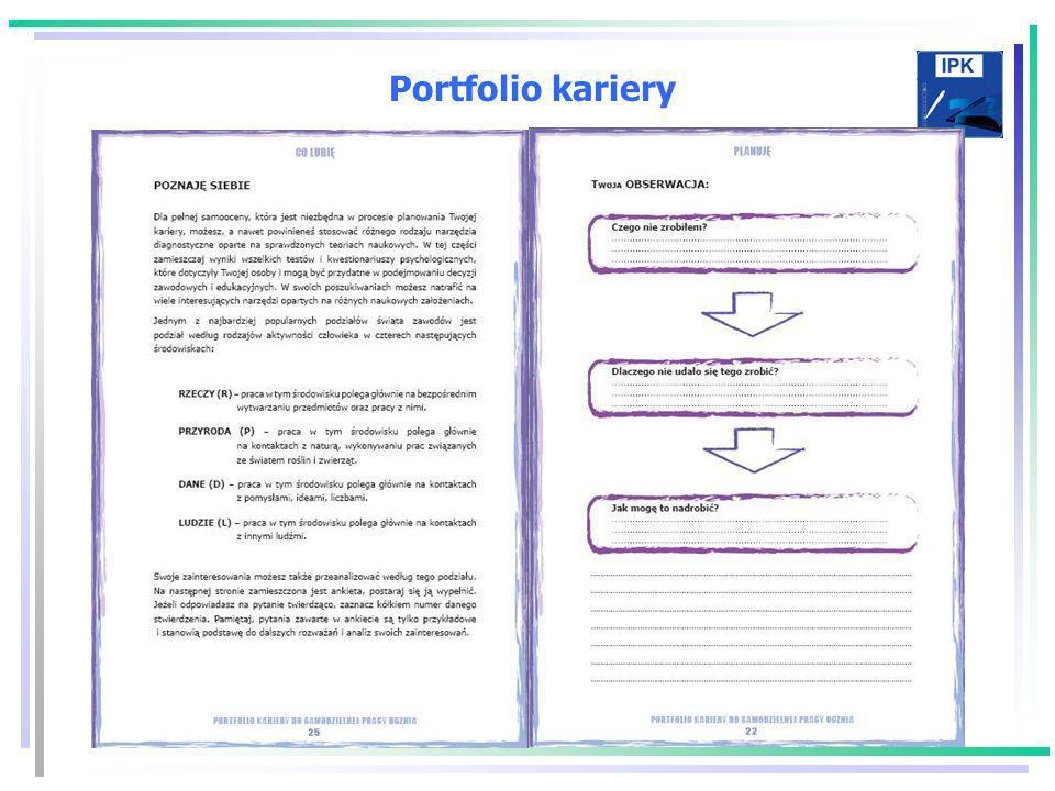 Portfolio kariery Portfolio Kariery jest narzędziem ułatwiającym zarówno gromadzenie i porządkowanie informacji związanych z własnym rozwojem zawodowy