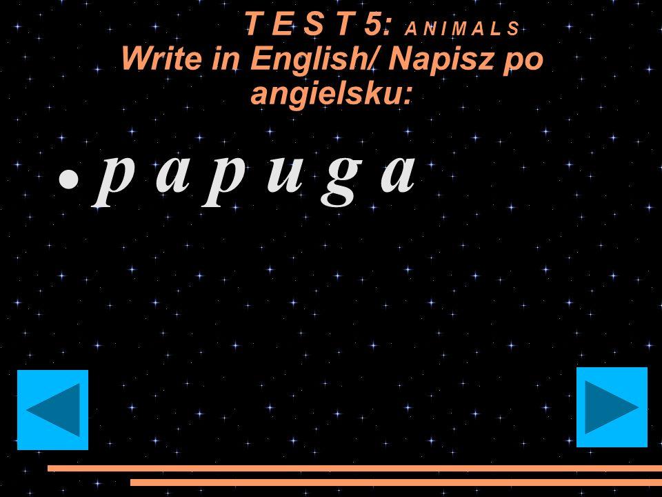T E S T 5: A N I M A L S Write in English/ Napisz po angielsku: r y b a