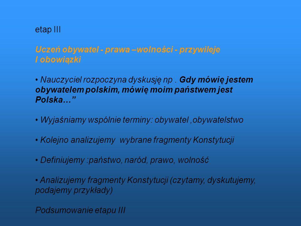 etap III Uczeń obywatel - prawa –wolności - przywileje I obowiązki Nauczyciel rozpoczyna dyskusję np. Gdy mówię jestem obywatelem polskim, mówię moim