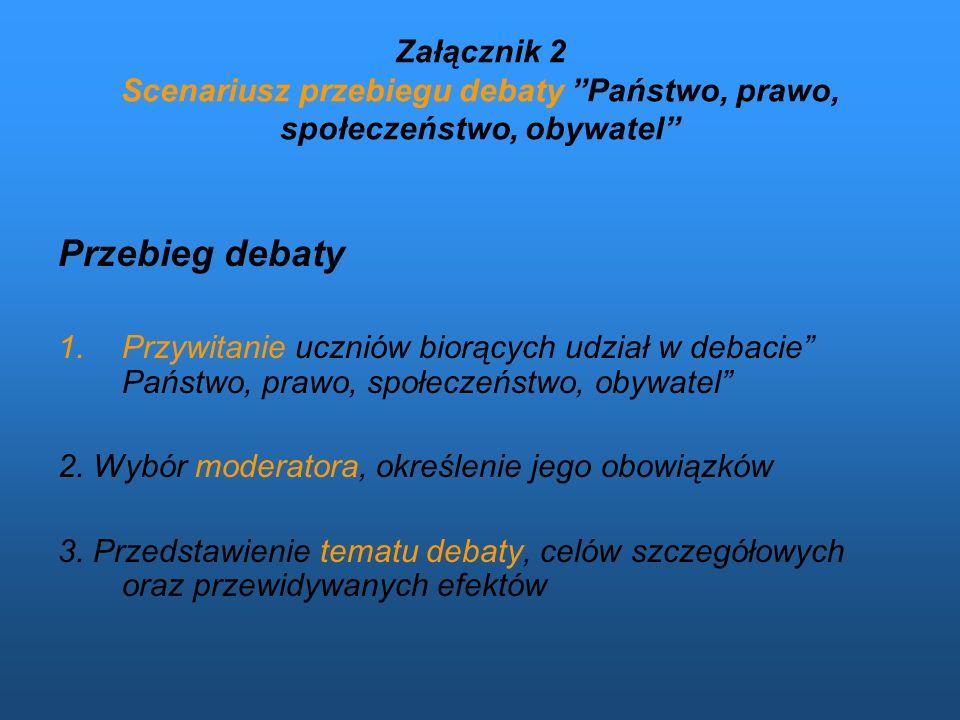 Załącznik 2 Scenariusz przebiegu debaty Państwo, prawo, społeczeństwo, obywatel Przebieg debaty 1.Przywitanie uczniów biorących udział w debacie Państ
