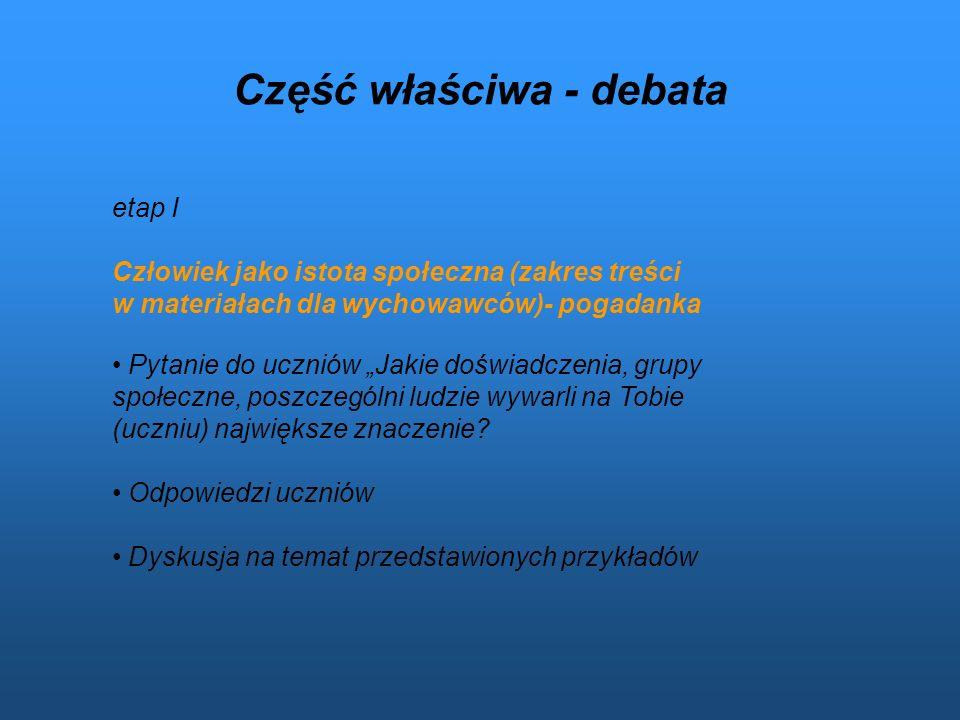 Część właściwa - debata etap I Człowiek jako istota społeczna (zakres treści w materiałach dla wychowawców)- pogadanka Pytanie do uczniów Jakie doświa