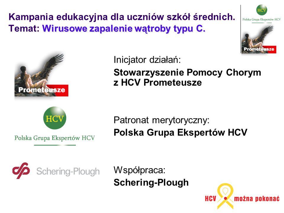 Wirusowe zapalenie wątroby typu C. Kampania edukacyjna dla uczniów szkół średnich. Temat: Wirusowe zapalenie wątroby typu C. Inicjator działań: Stowar