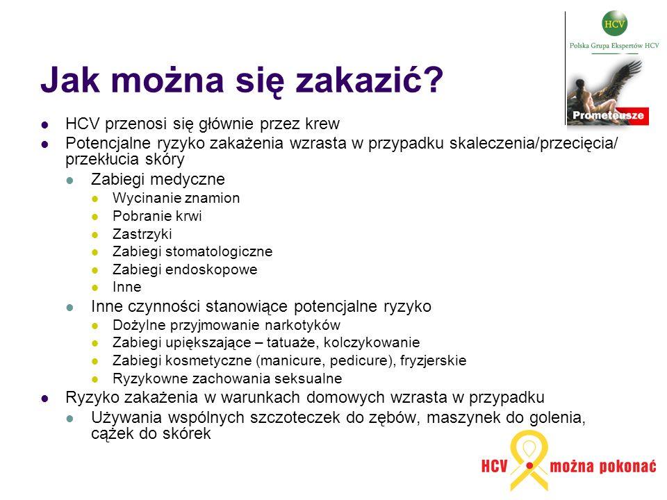 Jak można się zakazić? HCV przenosi się głównie przez krew Potencjalne ryzyko zakażenia wzrasta w przypadku skaleczenia/przecięcia/ przekłucia skóry Z