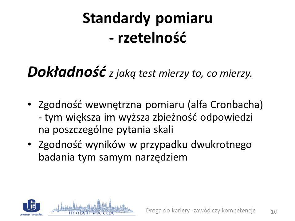 Standardy pomiaru - rzetelność Dokładność z jaką test mierzy to, co mierzy. Zgodność wewnętrzna pomiaru (alfa Cronbacha) - tym większa im wyższa zbież