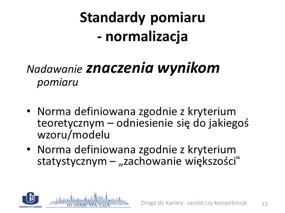 Standardy pomiaru - normalizacja Nadawanie znaczenia wynikom pomiaru Norma definiowana zgodnie z kryterium teoretycznym – odniesienie się do jakiegoś
