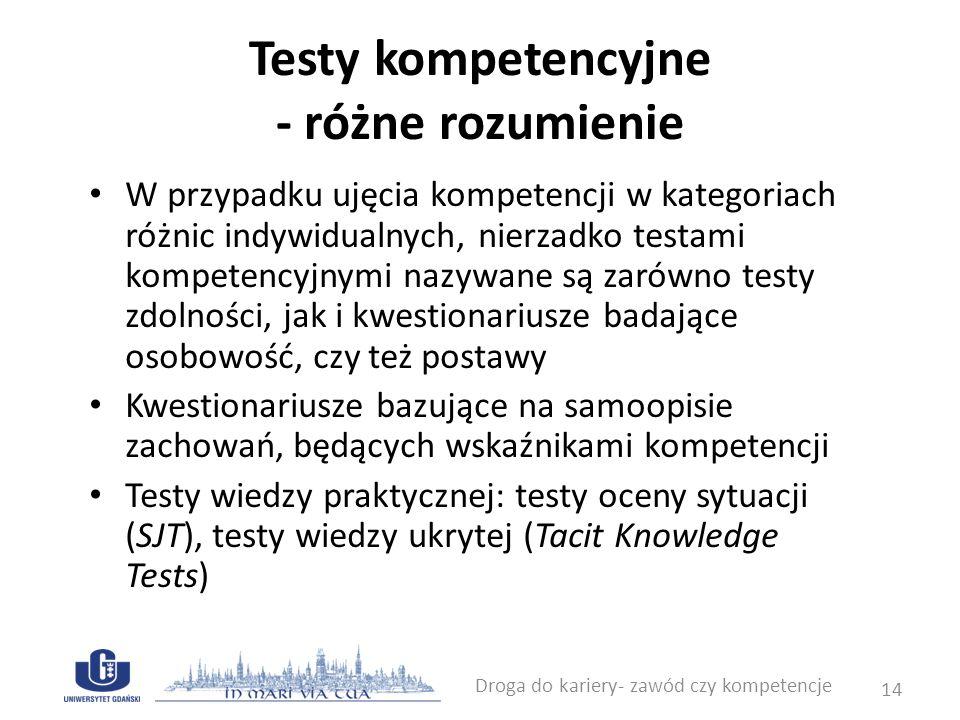 Testy kompetencyjne - różne rozumienie W przypadku ujęcia kompetencji w kategoriach różnic indywidualnych, nierzadko testami kompetencyjnymi nazywane
