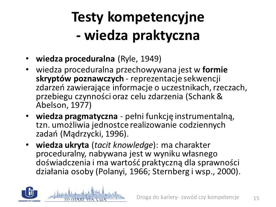 Testy kompetencyjne - wiedza praktyczna wiedza proceduralna (Ryle, 1949) wiedza proceduralna przechowywana jest w formie skryptów poznawczych - reprez