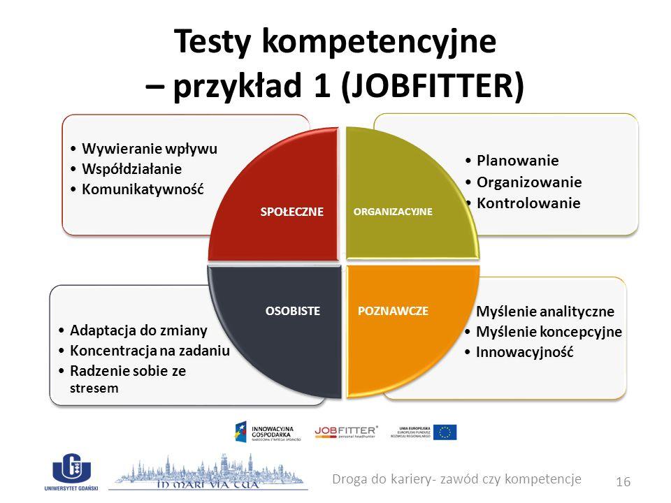 Testy kompetencyjne – przykład 1 (JOBFITTER) Droga do kariery- zawód czy kompetencje 16 Planowanie Organizowanie Kontrolowanie Adaptacja do zmiany Kon