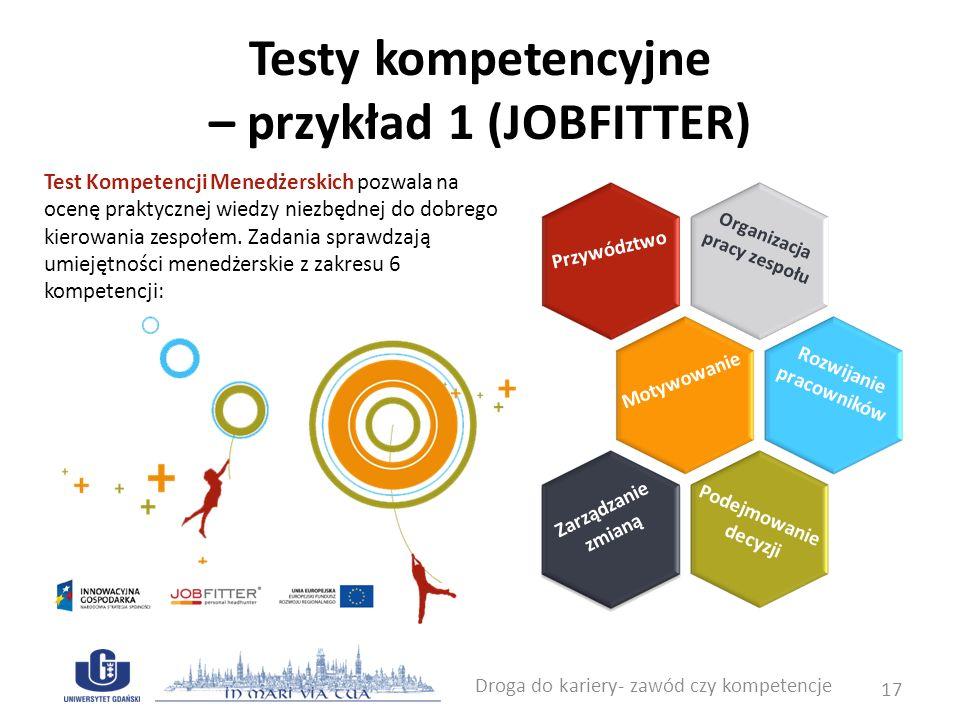 Testy kompetencyjne – przykład 1 (JOBFITTER) Droga do kariery- zawód czy kompetencje 17 Test Kompetencji Menedżerskich pozwala na ocenę praktycznej wi