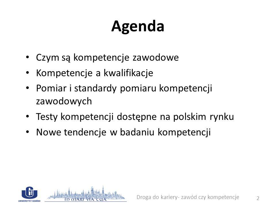 Agenda Czym są kompetencje zawodowe Kompetencje a kwalifikacje Pomiar i standardy pomiaru kompetencji zawodowych Testy kompetencji dostępne na polskim