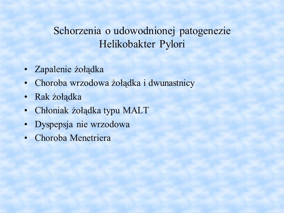 Schorzenia o udowodnionej patogenezie Helikobakter Pylori Zapalenie żołądka Choroba wrzodowa żołądka i dwunastnicy Rak żołądka Chłoniak żołądka typu M