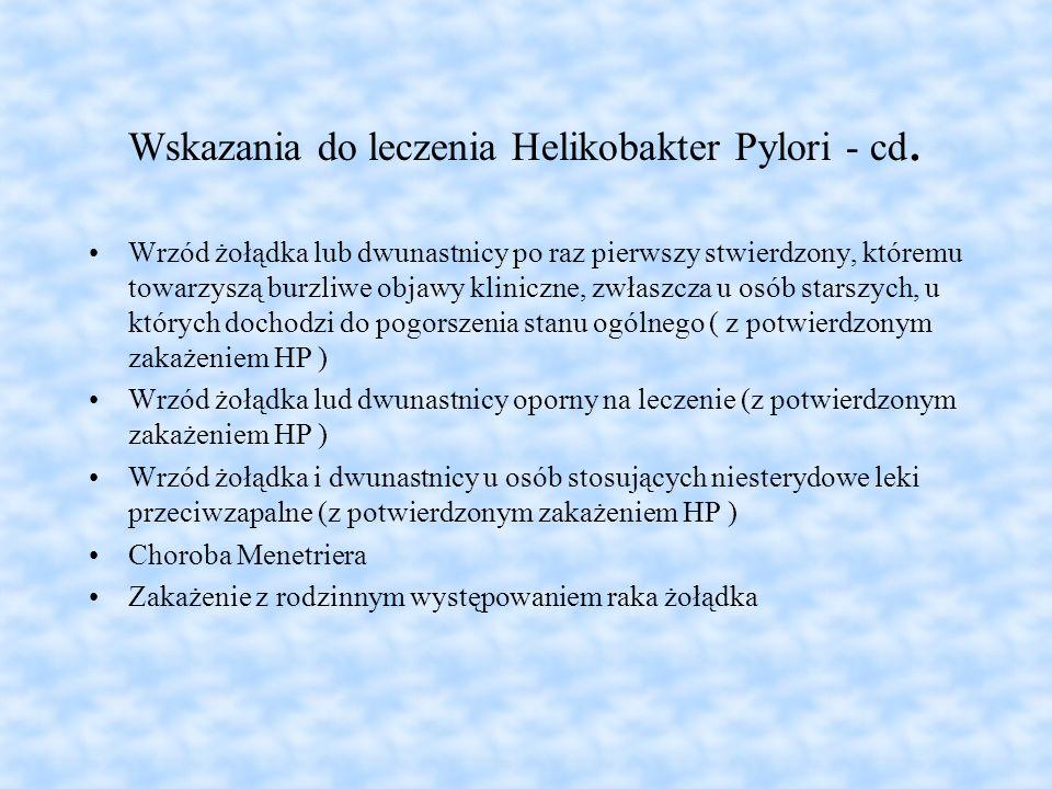 Wskazania do leczenia Helikobakter Pylori - cd. Wrzód żołądka lub dwunastnicy po raz pierwszy stwierdzony, któremu towarzyszą burzliwe objawy kliniczn