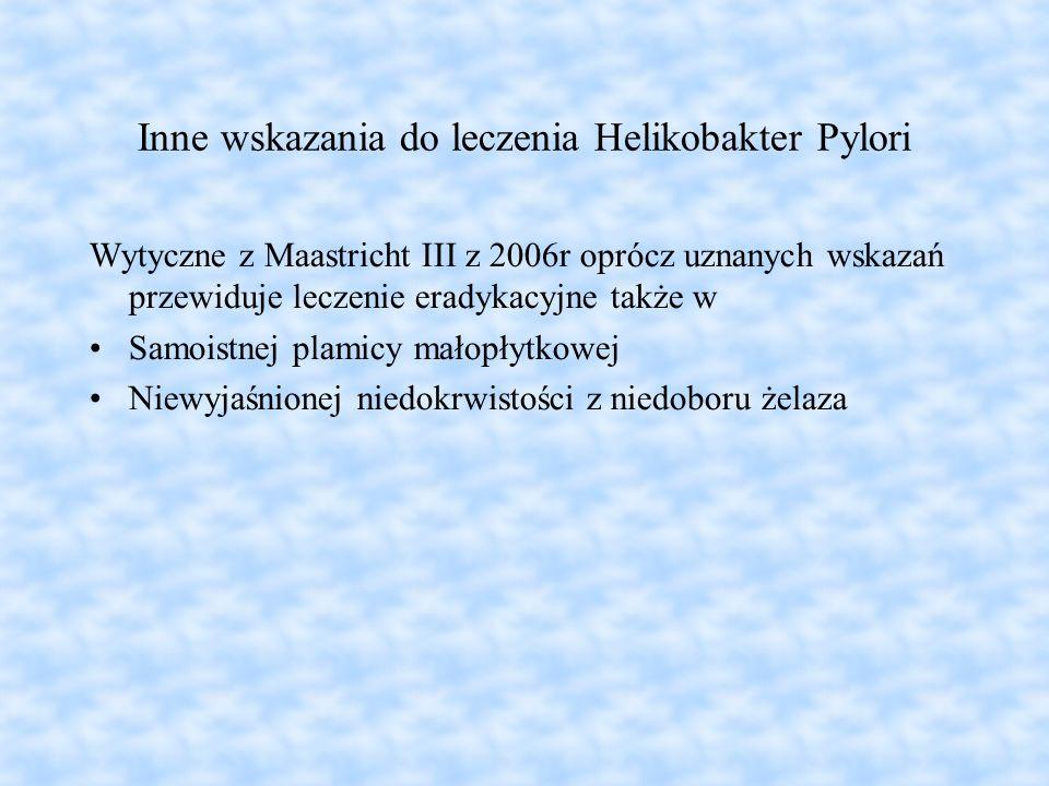 Inne wskazania do leczenia Helikobakter Pylori Wytyczne z Maastricht III z 2006r oprócz uznanych wskazań przewiduje leczenie eradykacyjne także w Samo