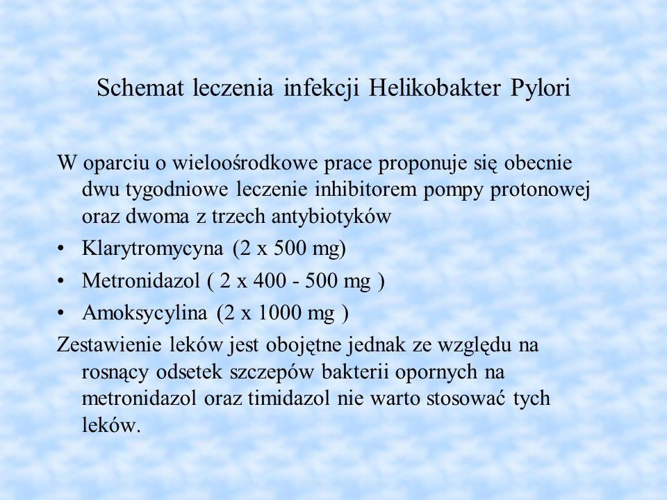 Schemat leczenia infekcji Helikobakter Pylori W oparciu o wieloośrodkowe prace proponuje się obecnie dwu tygodniowe leczenie inhibitorem pompy protono