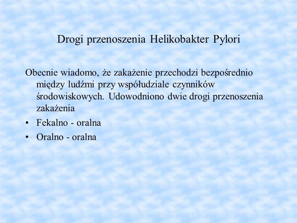 Drogi przenoszenia Helikobakter Pylori Obecnie wiadomo, że zakażenie przechodzi bezpośrednio między ludźmi przy współudziale czynników środowiskowych.