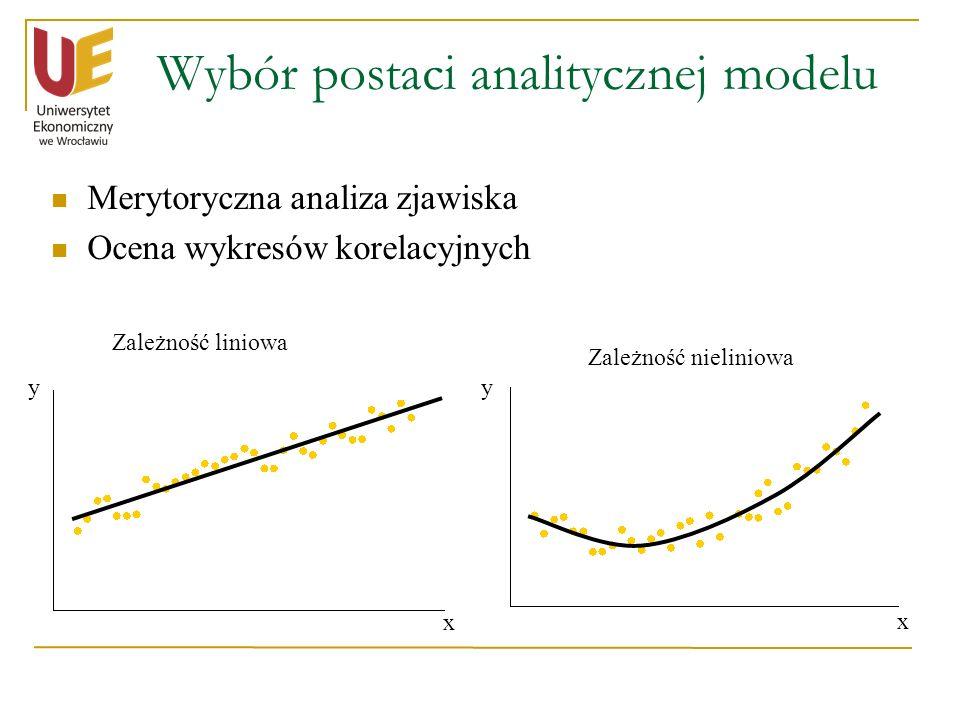 Wybór postaci analitycznej modelu Merytoryczna analiza zjawiska Ocena wykresów korelacyjnych yy x x Zależność liniowa Zależność nieliniowa