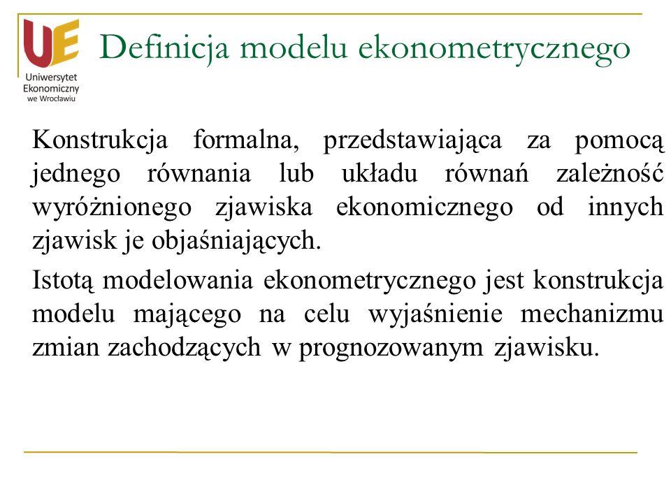 Definicja modelu ekonometrycznego Konstrukcja formalna, przedstawiająca za pomocą jednego równania lub układu równań zależność wyróżnionego zjawiska e