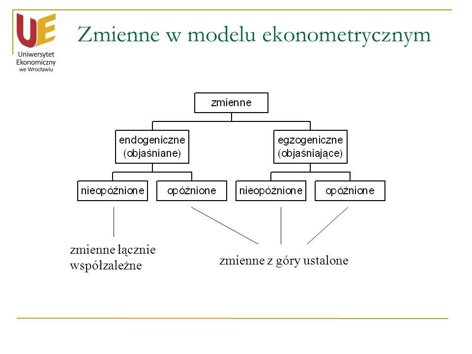 Zmienne w modelu ekonometrycznym zmienne łącznie współzależne zmienne z góry ustalone