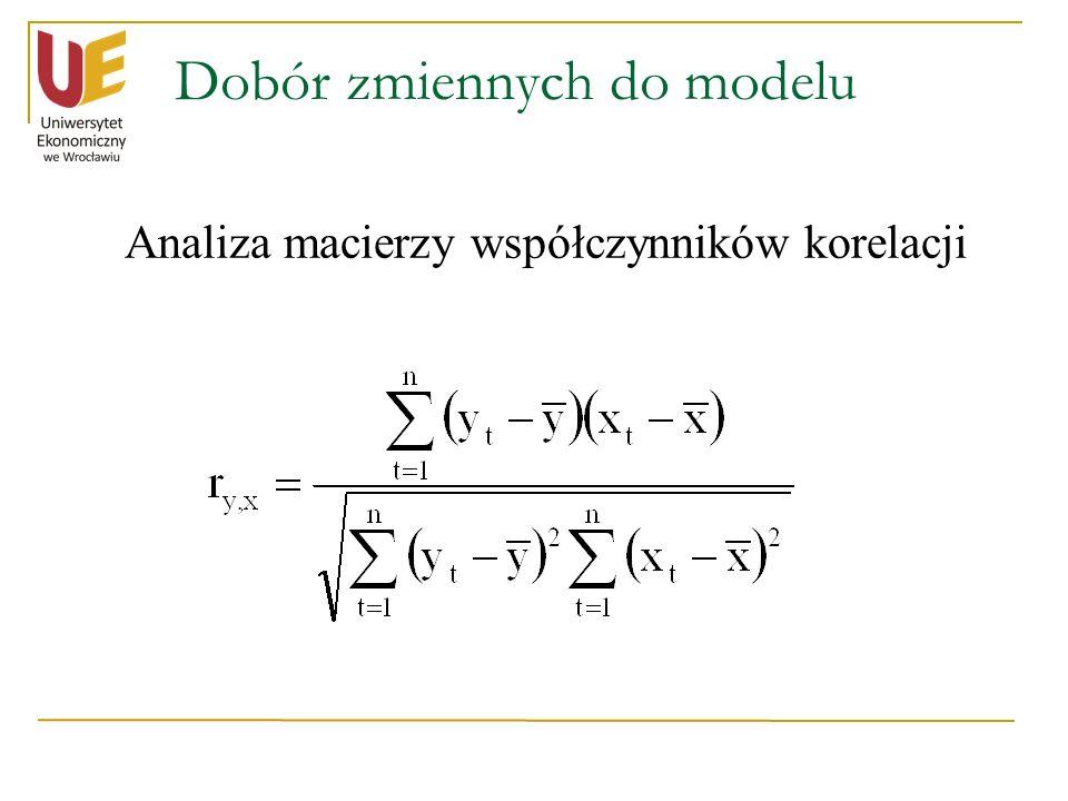 Dobór zmiennych do modelu Analiza macierzy współczynników korelacji
