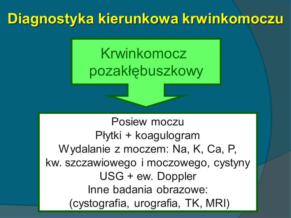 Diagnostyka kierunkowa krwinkomoczu Krwinkomocz pozakłębuszkowy Posiew moczu Płytki + koagulogram Wydalanie z moczem: Na, K, Ca, P, kw. szczawiowego i