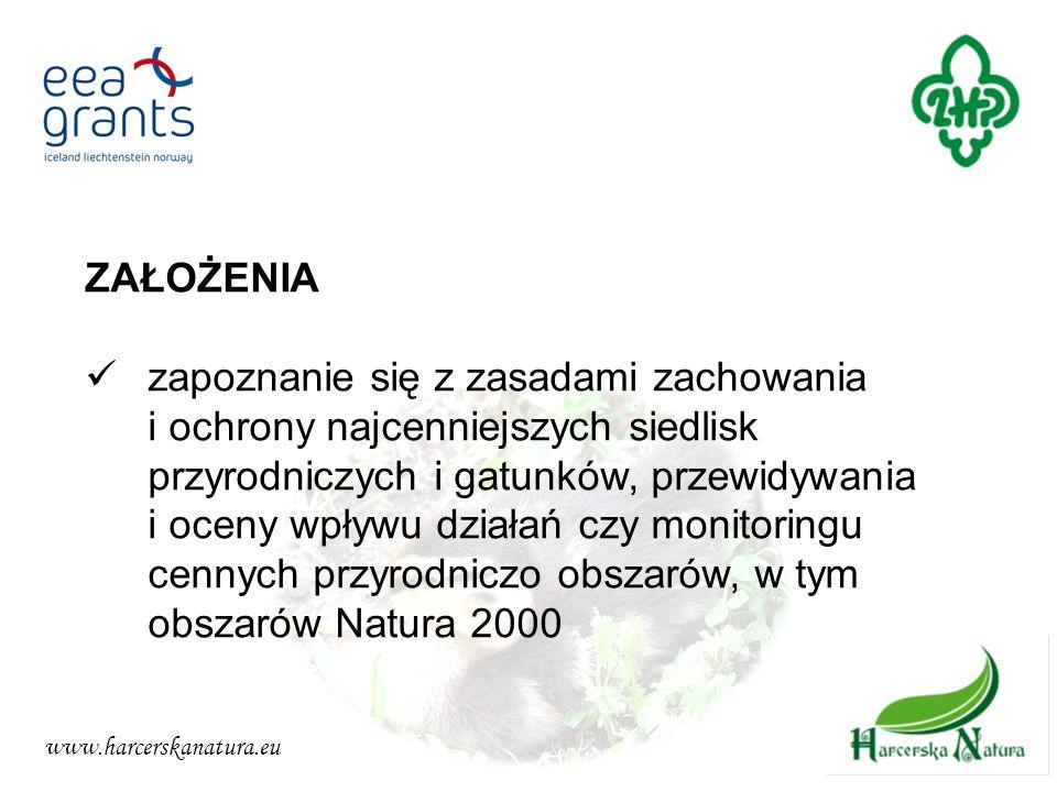 www.harcerskanatura.eu ZAŁOŻENIA zapoznanie się z zasadami zachowania i ochrony najcenniejszych siedlisk przyrodniczych i gatunków, przewidywania i oc