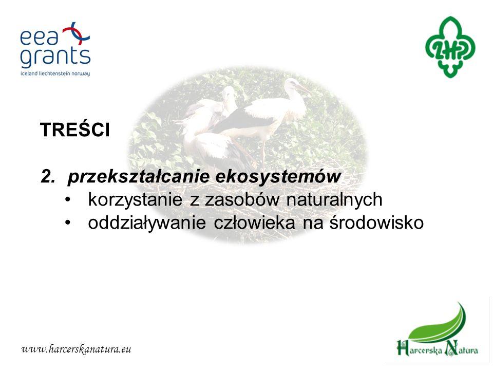 www.harcerskanatura.eu TREŚCI 2.przekształcanie ekosystemów korzystanie z zasobów naturalnych oddziaływanie człowieka na środowisko