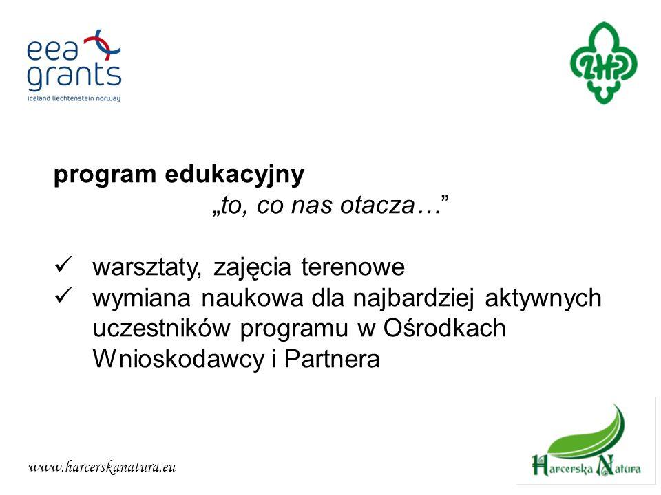 www.harcerskanatura.eu program edukacyjny to, co nas otacza… warsztaty, zajęcia terenowe wymiana naukowa dla najbardziej aktywnych uczestników program