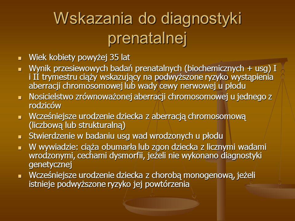 Wskazania do diagnostyki prenatalnej Wiek kobiety powyżej 35 lat Wiek kobiety powyżej 35 lat Wynik przesiewowych badań prenatalnych (biochemicznych +