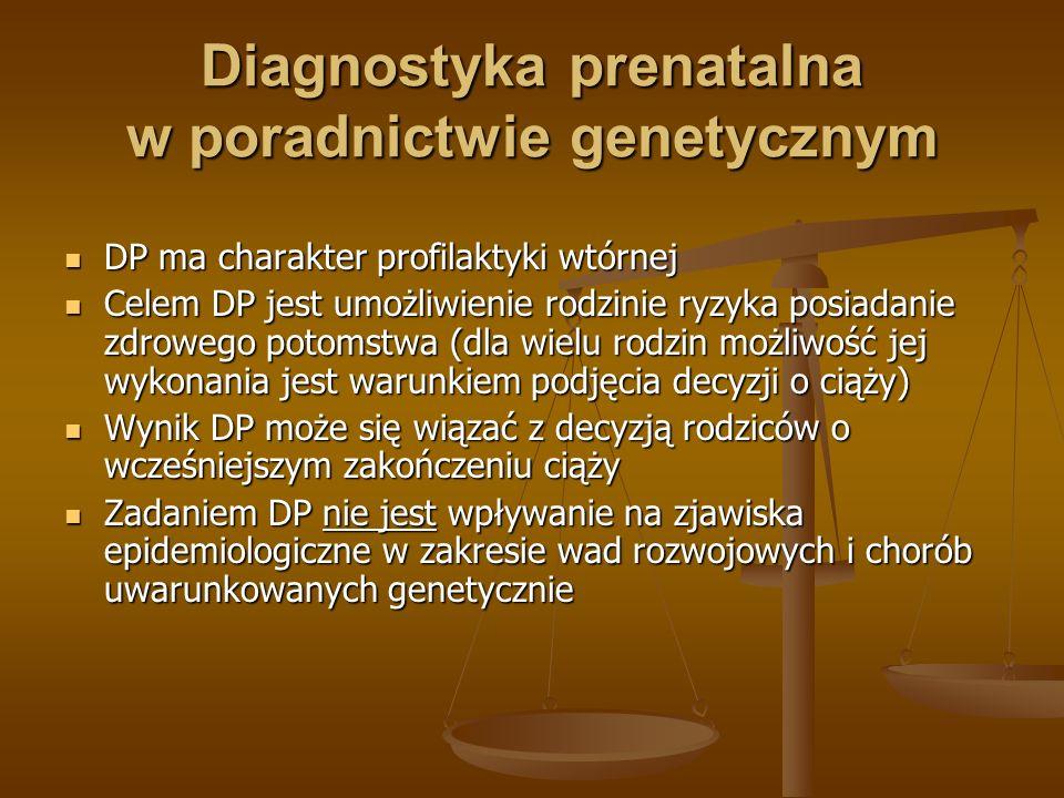 Diagnostyka prenatalna w poradnictwie genetycznym DP ma charakter profilaktyki wtórnej DP ma charakter profilaktyki wtórnej Celem DP jest umożliwienie