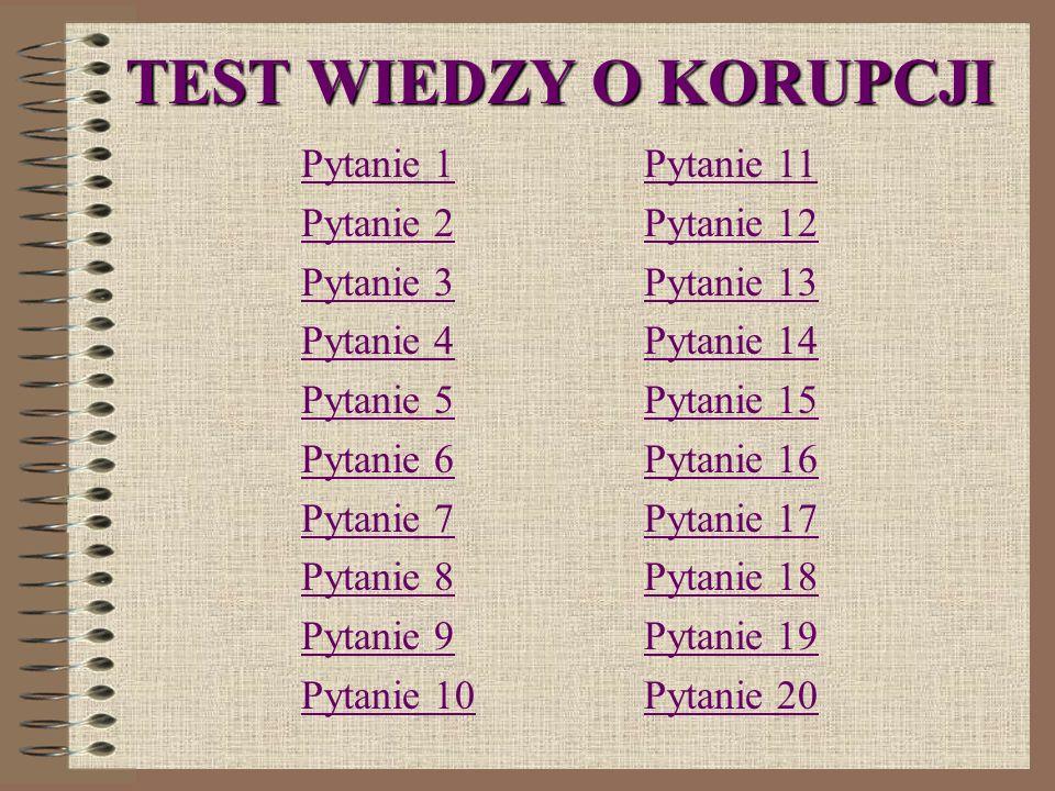 TEST WIEDZY O KORUPCJI Pytanie 1 Pytanie 2 Pytanie 3 Pytanie 4 Pytanie 5 Pytanie 6 Pytanie 7 Pytanie 8 Pytanie 9 Pytanie 10 Pytanie 11 Pytanie 12 Pytanie 13 Pytanie 14 Pytanie 15 Pytanie 16 Pytanie 17 Pytanie 18 Pytanie 19 Pytanie 20