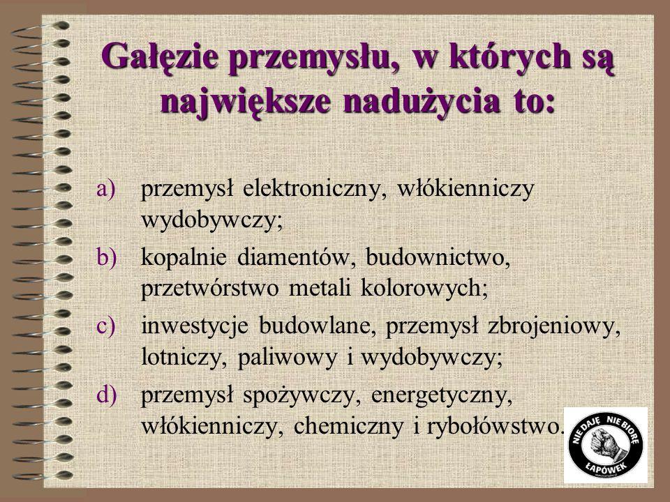 Obszarem działalności publicznej najbardziej narażonym na korupcję są: a)zamówienia publiczne; b)wybory do Sejmu i Senatu; c)działalność urzędnicza; d