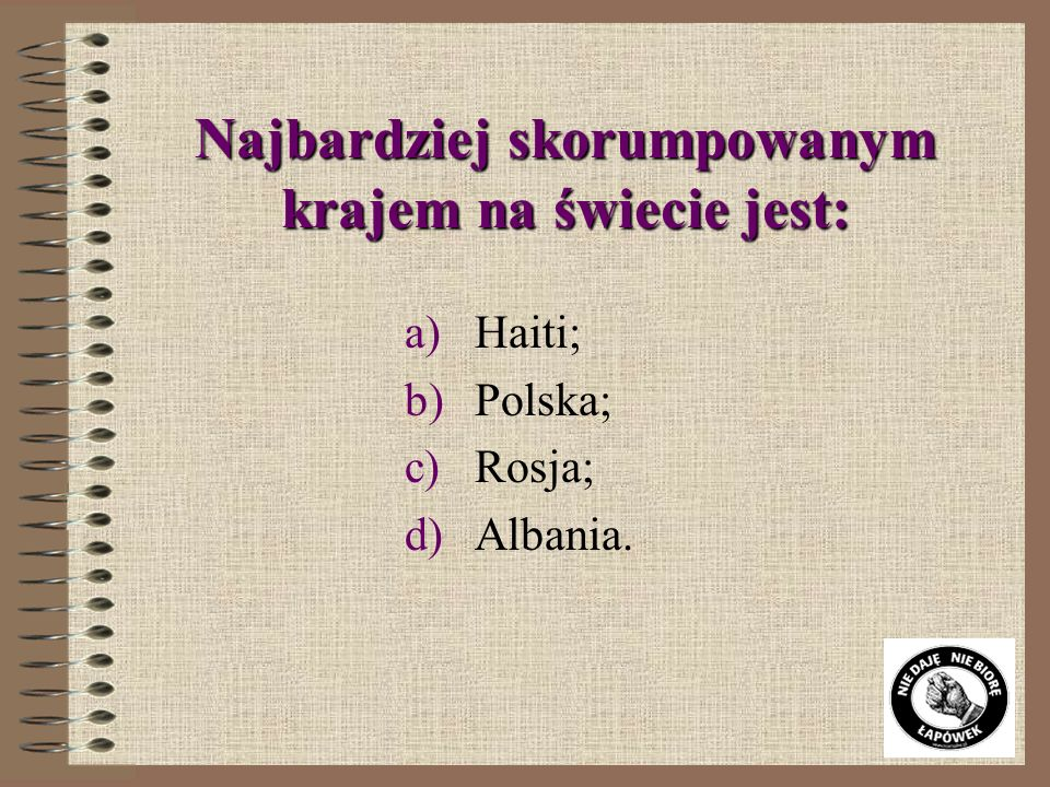 W czołówce najbardziej uczciwych krajów świata znajdują się: a)Dania, Węgry, Singapur; b)Finlandia, Islandia, Dania; c)Irlandia, Nowa Zelandia, Bangla