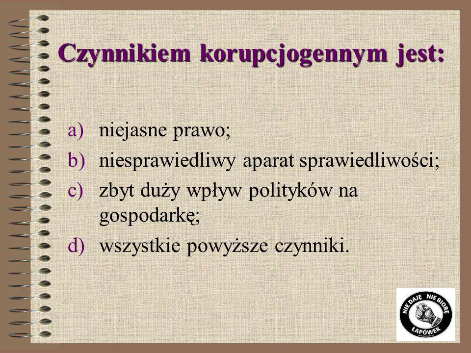 Według Wskaźnika Percepcji Korupcji 2006 Polska zajęła: a)10 miejsce b)46 miejsce c)61 miejsce d)123 miejsce