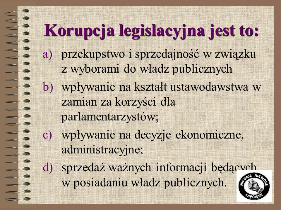 Korupcja legislacyjna jest to: a)przekupstwo i sprzedajność w związku z wyborami do władz publicznych b)wpływanie na kształt ustawodawstwa w zamian za korzyści dla parlamentarzystów; c)wpływanie na decyzje ekonomiczne, administracyjne; d)sprzedaż ważnych informacji będących w posiadaniu władz publicznych.