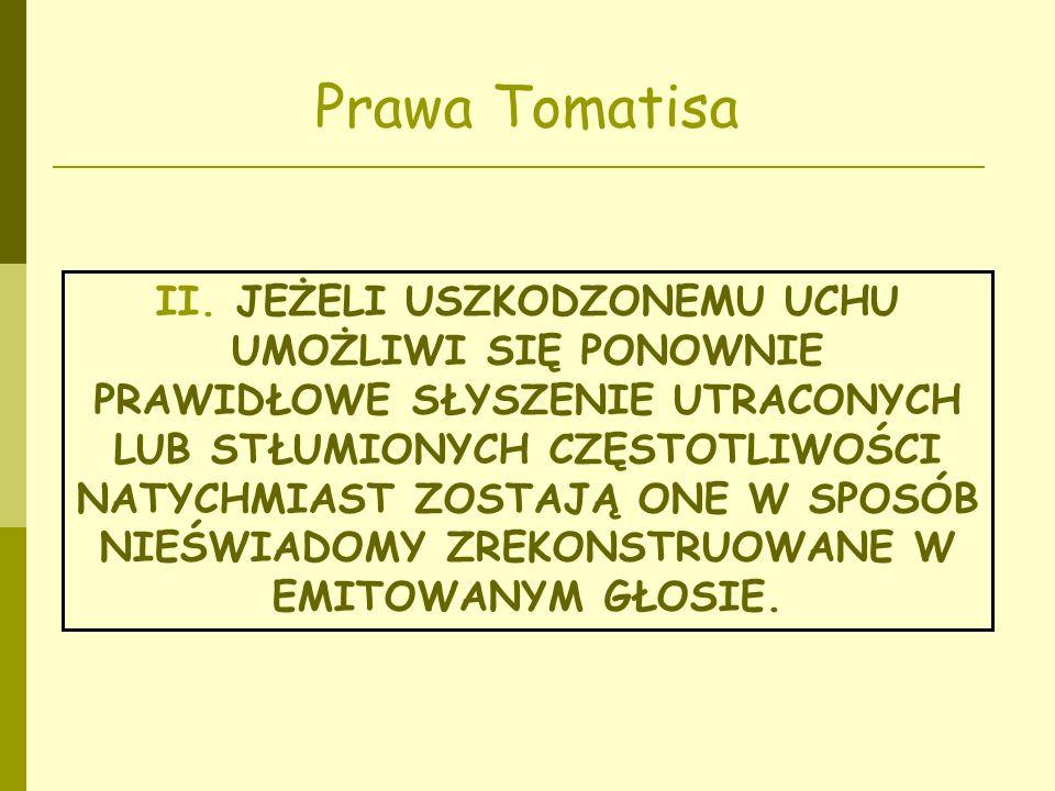 Prawa Tomatisa II. JEŻELI USZKODZONEMU UCHU UMOŻLIWI SIĘ PONOWNIE PRAWIDŁOWE SŁYSZENIE UTRACONYCH LUB STŁUMIONYCH CZĘSTOTLIWOŚCI NATYCHMIAST ZOSTAJĄ O