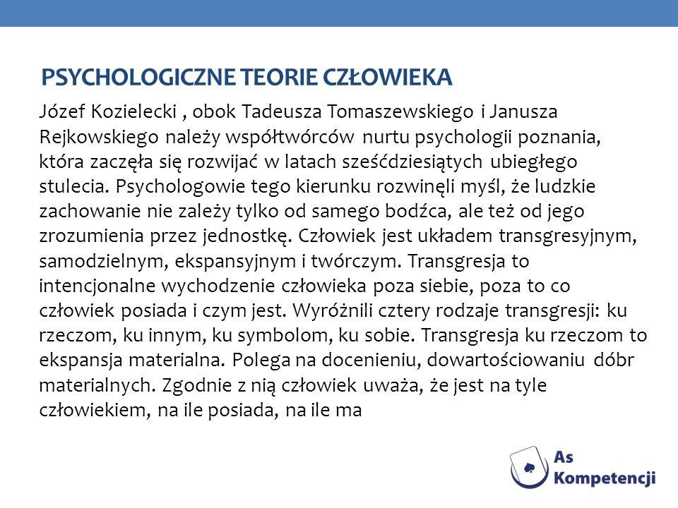 PSYCHOLOGICZNE TEORIE CZŁOWIEKA Józef Kozielecki, obok Tadeusza Tomaszewskiego i Janusza Rejkowskiego należy współtwórców nurtu psychologii poznania,