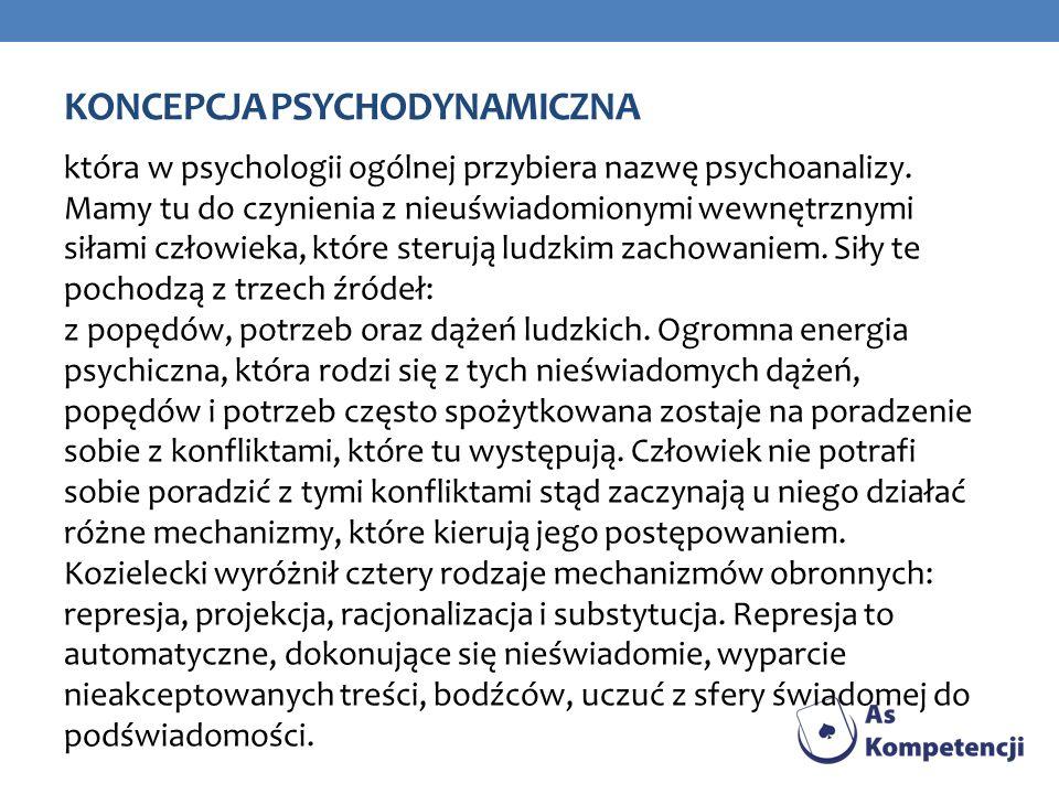 KONCEPCJA PSYCHODYNAMICZNA która w psychologii ogólnej przybiera nazwę psychoanalizy. Mamy tu do czynienia z nieuświadomionymi wewnętrznymi siłami czł