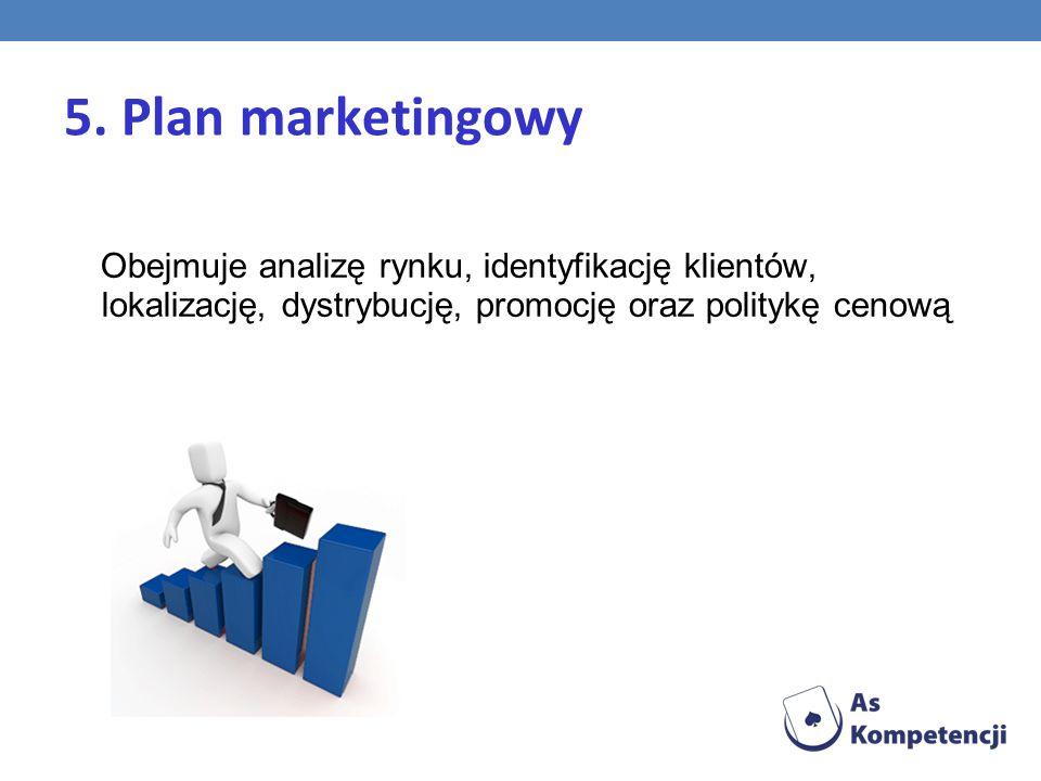 5. Plan marketingowy Obejmuje analizę rynku, identyfikację klientów, lokalizację, dystrybucję, promocję oraz politykę cenową